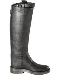 Ann Demeulemeester   Gray Top Strap Riding Boot   Lyst