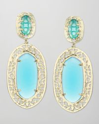 Kendra Scott | Blue Darian Scrollborder Earrings Turquoise | Lyst