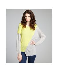 Qi | Gray Heather Grey and Neon Lime Cashmere Natasha Asymmetrical Sweater | Lyst