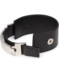 Saint Laurent - Black Leather Logo Cuff - Lyst