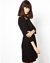 Boutique by Jaeger - Black Jersey Skater Dress with Floral Pattern - Lyst