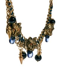 Kasturjewels - Multicolor Lion Head Inspired Statement Necklace with Charms - Lyst