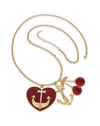Material Girl | Red Goldtone Cherry Anchor Charm Necklace | Lyst