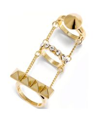 Material Girl - Metallic Goldtone Spike Chain Triple Ring - Lyst