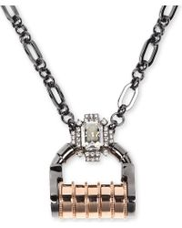 Mawi - Gray Mawi Padlock Crystal Necklace - Lyst