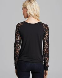 Bailey 44 - Black Sweatshirt Faux Leather and Lace - Lyst