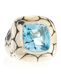 John Hardy | Metallic Batu Kali Blue Topaz Square Ring Size 6 for Men | Lyst