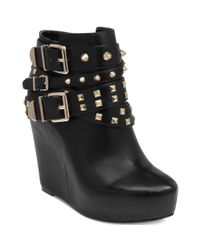 BCBGeneration | Black Aspen Studded Wedge Booties | Lyst