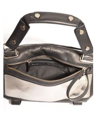 Golden Lane - Metallic Mirrored Silver & Black Leather Duo Satchel - Last One By - Lyst