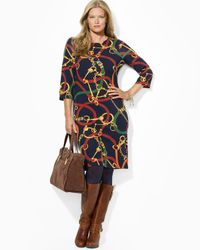 Ralph Lauren | Blue Loxlynn Dress with Button Shoulder | Lyst