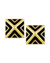 Vince Camuto | Metallic Goldtone Black Chevron Pyramid Stud Earrings | Lyst