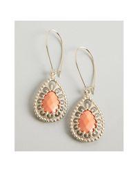 Kendra Scott | Pink Salmon Magnesite Evita Ornate Teardrop Earrings | Lyst