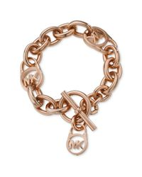 Michael Kors | Pink Rose Gold Tone Logo Lock Toggle Bracelet | Lyst