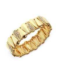 Nine West | Metallic Gold Tone Crystal Teardrop Stretch Bracelet | Lyst