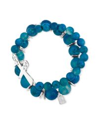Robert Lee Morris - Silver Tone Semi Precious Blue Bead and Cross Pave Stretch Bracelets - Lyst