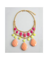 David Aubrey - Pink Green and Peach Multi Stone Drop Necklace - Lyst