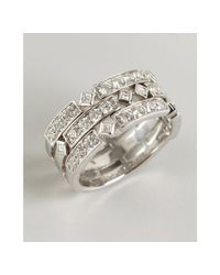 Kwiat | White Gold and Diamond Carre Three Layer Ring | Lyst