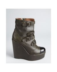 Ritch Erani Nyfc   Gray Olive Leather Buckle Strap Platform Wedge Ankle Boots   Lyst