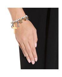 Saint Laurent - Metallic Pearl Charm Bracelet - Lyst