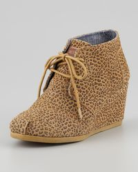 TOMS | Brown Desert Cheetah-print Wedge Booties | Lyst