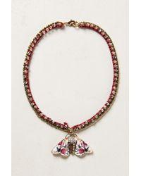 Anthropologie | Pink Fluttered Fleur Pendant Necklace | Lyst