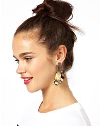 ASOS | Multicolor Metal Jewel Doorknocker Earrings | Lyst