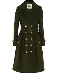 Burberry | Green Wool and Cashmere Blend Trench Coat | Lyst