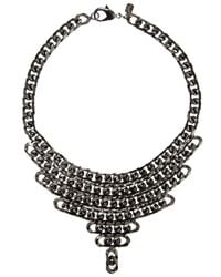Fallon - Black Gunmetal Biker Chain Bib Necklace - Lyst