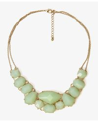 Forever 21 | Green Faceted Faux Stone Bib Necklace | Lyst