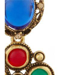 Oscar de la Renta - Metallic Gold Plated Cabochon and Crystal Clip Earrings - Lyst