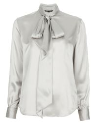 Ralph Lauren Black Label | Metallic Pussy Bow Blouse | Lyst