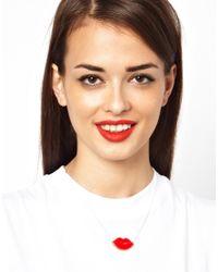 Tatty Devine - Red Avant Garde Robot Lips Necklace - Lyst