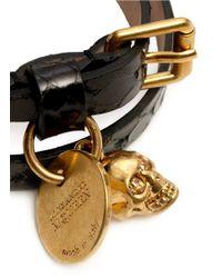 Alexander McQueen - Black Skull Double Wrap Leather Bracelet for Men - Lyst