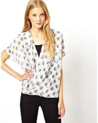 ASOS | White Blouse with Wrap Front in Skeleton Frog Print | Lyst