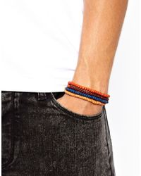 ASOS - Orange Classics 77 Beaded Bracelet Pack for Men - Lyst