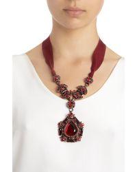 Lanvin - Red Crystal Babylon Pendant Necklace - Lyst