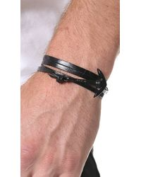 Miansai - Black Enamel Anchor Leather Wrap Bracelet for Men - Lyst