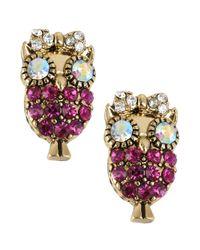 Betsey Johnson - Metallic Antique Gold-tone Owl Stud Earrings - Lyst
