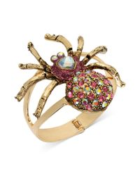 Betsey Johnson | Red Antique Gold Tone Spider Hinged Bangle Bracelet | Lyst