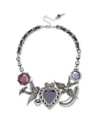 Betsey Johnson | Metallic Antique Silver Tone Crystal Heart and Bird Frontal Necklace | Lyst