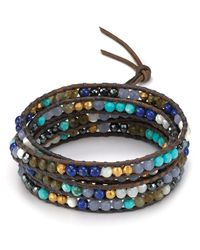 Chan Luu | Gray Five Wrap Leather Bracelet with Blue Mirage Beads | Lyst