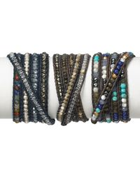 Chan Luu - Gray Five Wrap Leather Bracelet with Blue Mirage Beads - Lyst