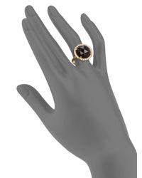 Mija - Brown Smoky Topaz Pave White Sapphire Cocktail Ring - Lyst