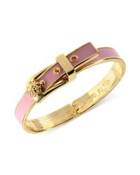 Anne Klein | Goldtone Pink Buckle Bangle Bracelet | Lyst