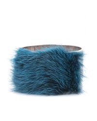 Fendi | Metallic Cuff Bracelet With Mink Fur | Lyst