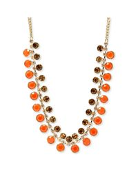 Fossil - Gold Tone Orange and Topaz Stone Threerow Necklace - Lyst
