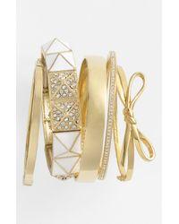 Kate Spade | Gold Skinny Mini Bow Bangle | Lyst