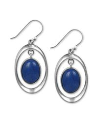 Lucky Brand - Metallic Silver Tone Blue Drop Earrings - Lyst