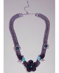 Bebe - Purple Flower Jewel Necklace - Lyst