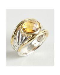 David Yurman | Metallic Gold and Silver Carved Cable Citrine Stone Ring | Lyst
